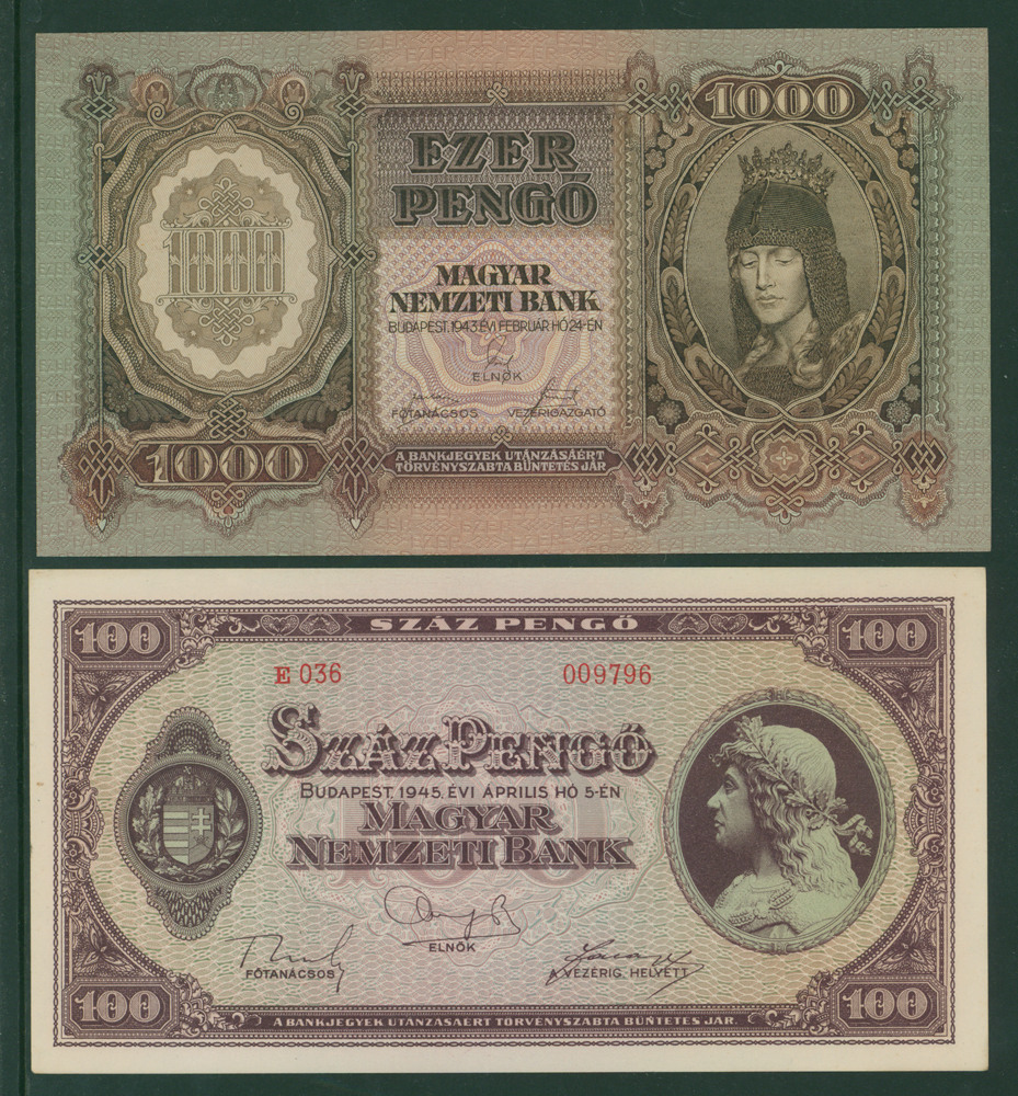 Hungary 1945 100 pengo, 1943 1000 pengo (2 notes)