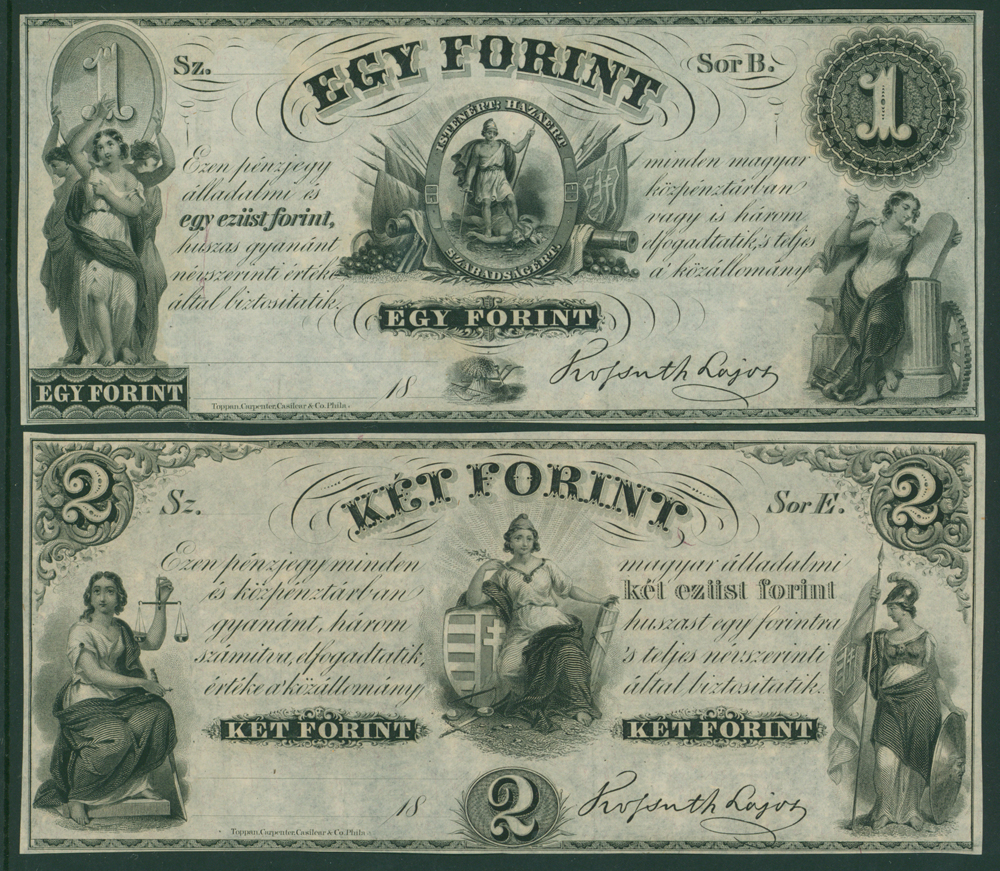 Hungary 1852 1 forint, 2 forint (2 notes)