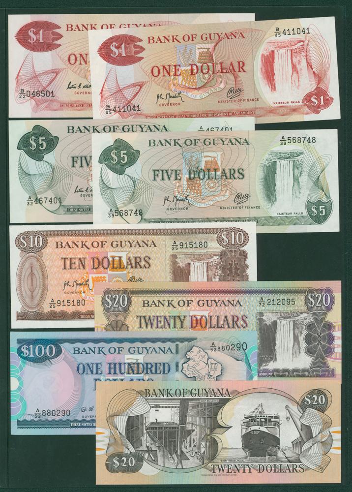 Guyana 1966-92 $1, $5, $10, $20, $100, 1996 $20 (8 notes)
