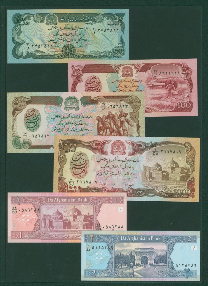 Afghanistan 1979-90 50 Afghanis, 100af, 500af, 1000af, 2002 1af, 2af (6 notes)