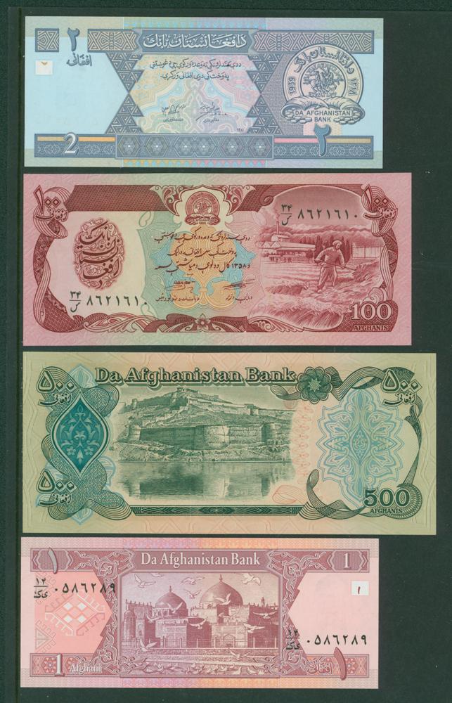 Afghanistan 1979-90 100 Afghanis, 500af, 2002 1af & 2af (4 notes)