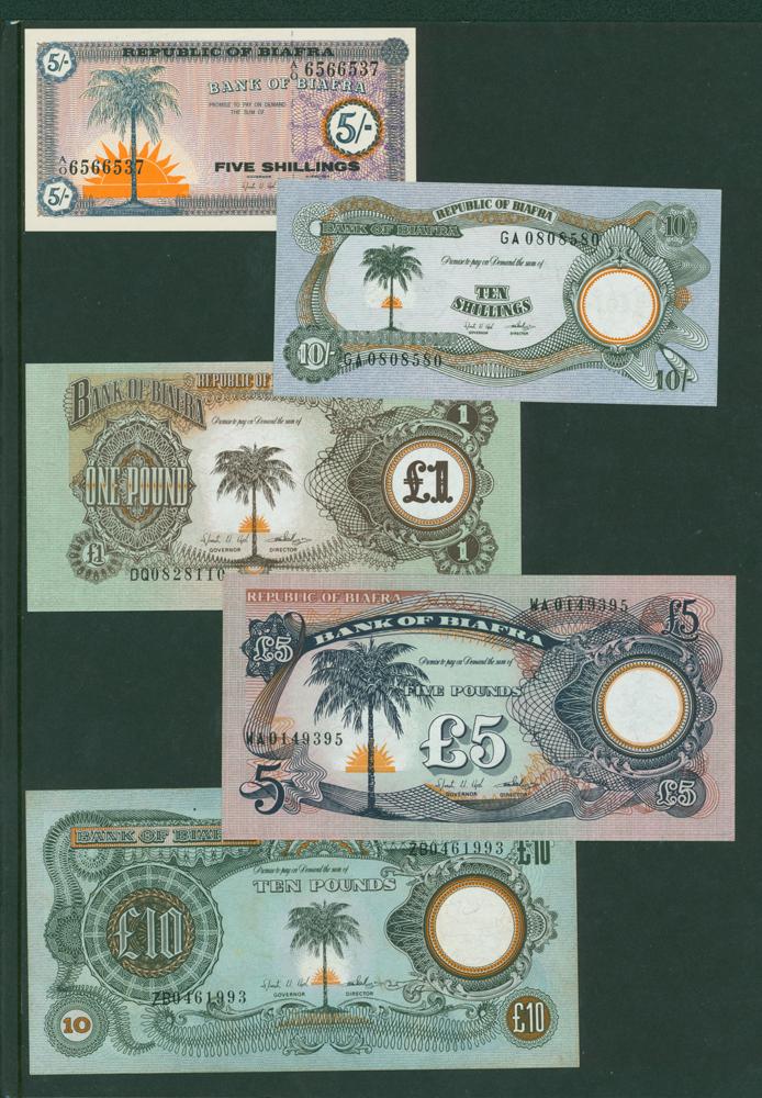 Biafra 1967 5 shillings, 10s, £1 , £5, £10 (5 notes)'
