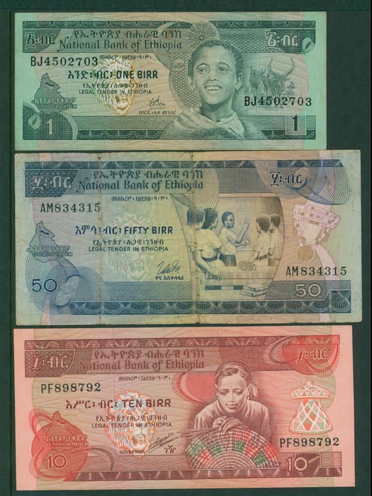 Ethiopia 1969 1 birr, 1976 50 birr, 1991 10 birr (3 notes)