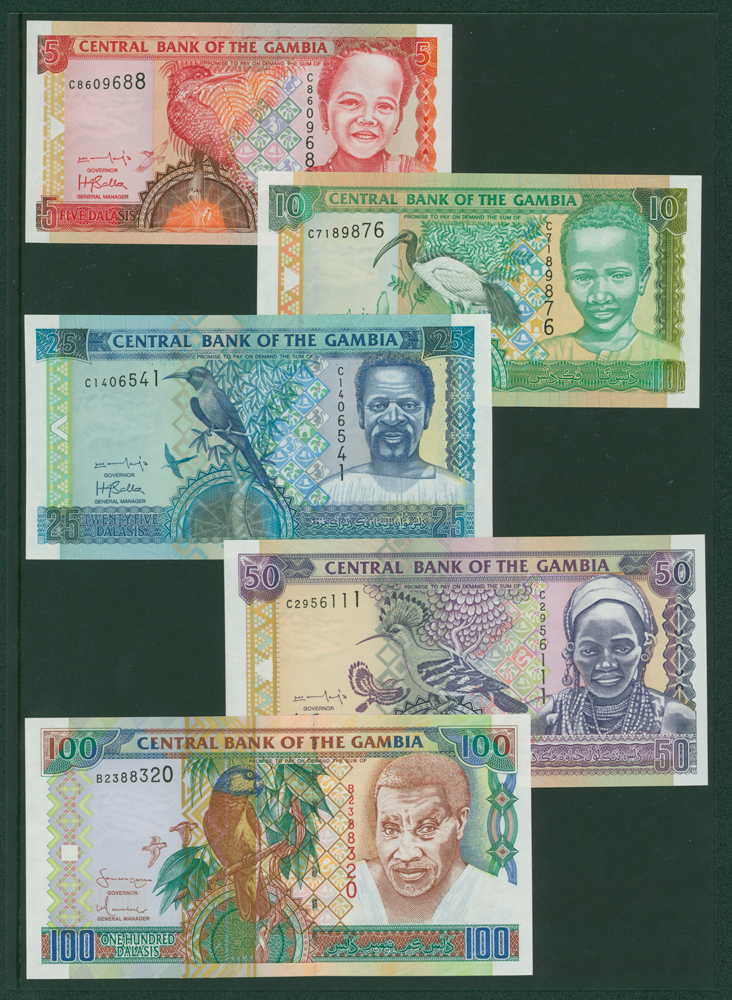 Gambia 2001 5 dalasis, 10d, 25d, 50d, 2001 100d (5 notes)
