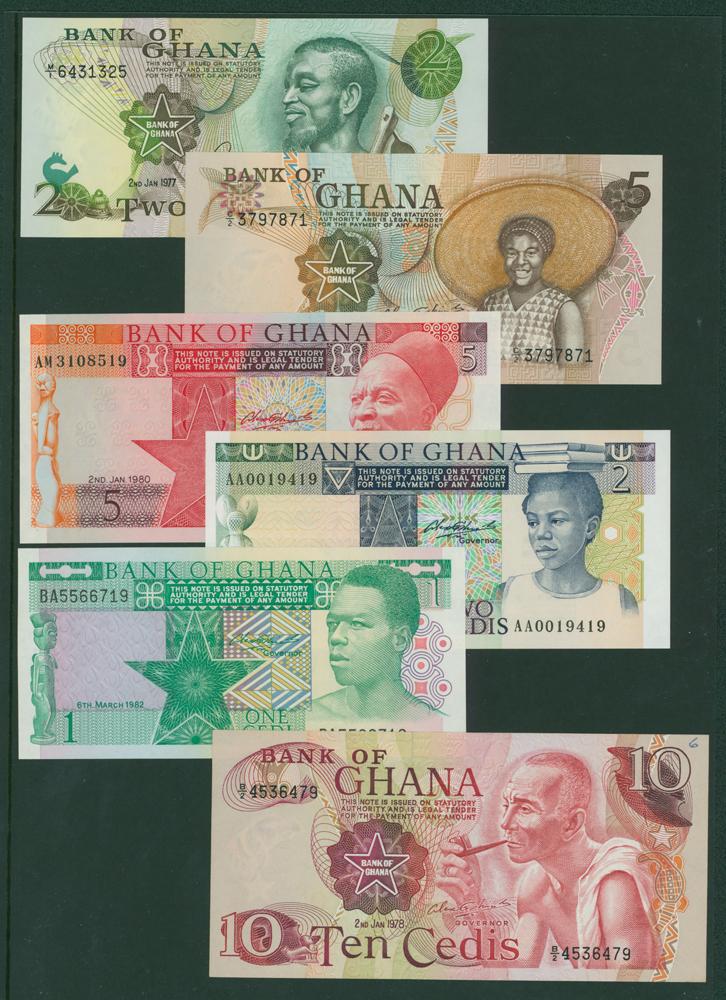 Ghana 1977 2 cedis, 1978 5 cedis, 10 cedis, 1982 1 cedis, 2 cedis, 5 cedis (6 notes)