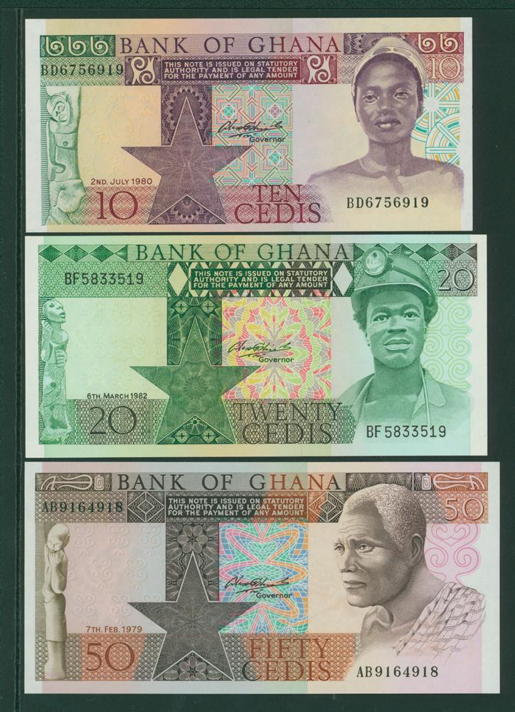 Ghana 1980 10 cedis, 1982 20 cedis, 1979 50 cedis (3 notes)