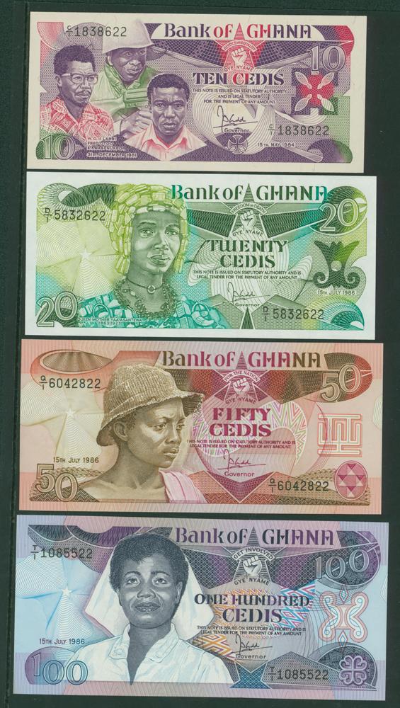 Ghana 1984 10 cedis,1986 20 cedis, 1986 50 cedis, 1986 100 cedis (4 notes)
