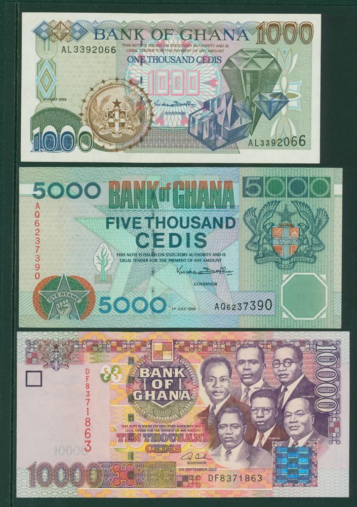Ghana 1996-2003 1000 cedis, 5000 cedis, 10,000 cedis (3 notes)