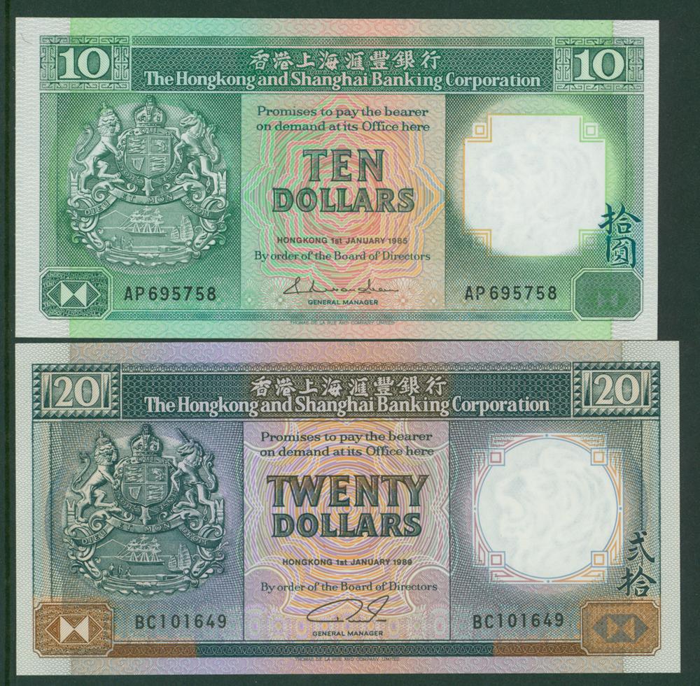 Hong Kong 1985-87 $10, $20