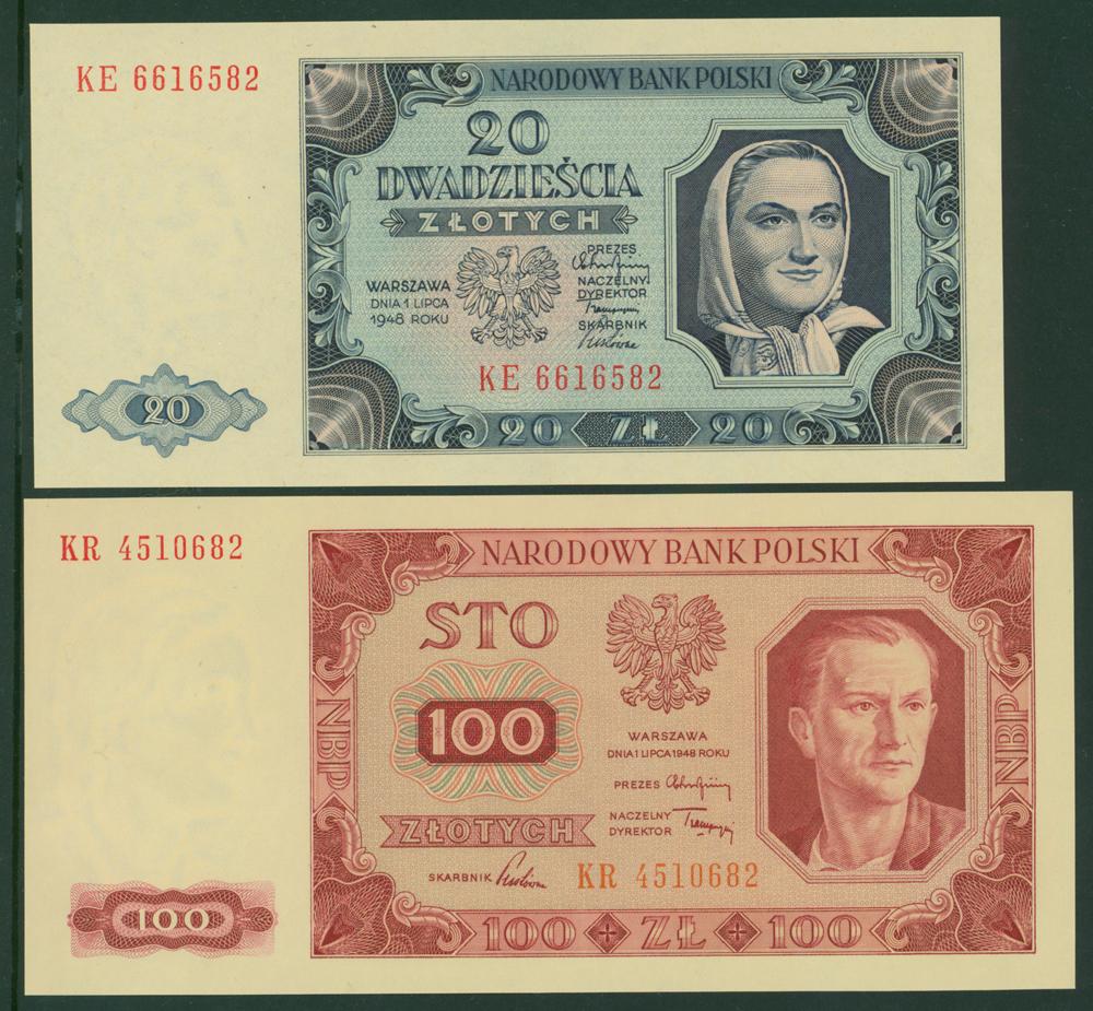 Poland 1948 50 zlotych, 100 zlotych