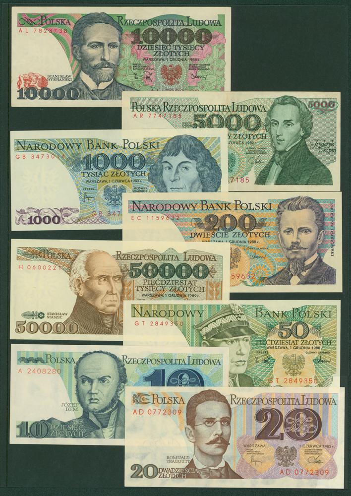 Poland 1975 50z, 1988 200z, 1982 1000z, 1982 10z, 1982 20z, 1982 5000z, 1988 10,000z, 1989 50,000z