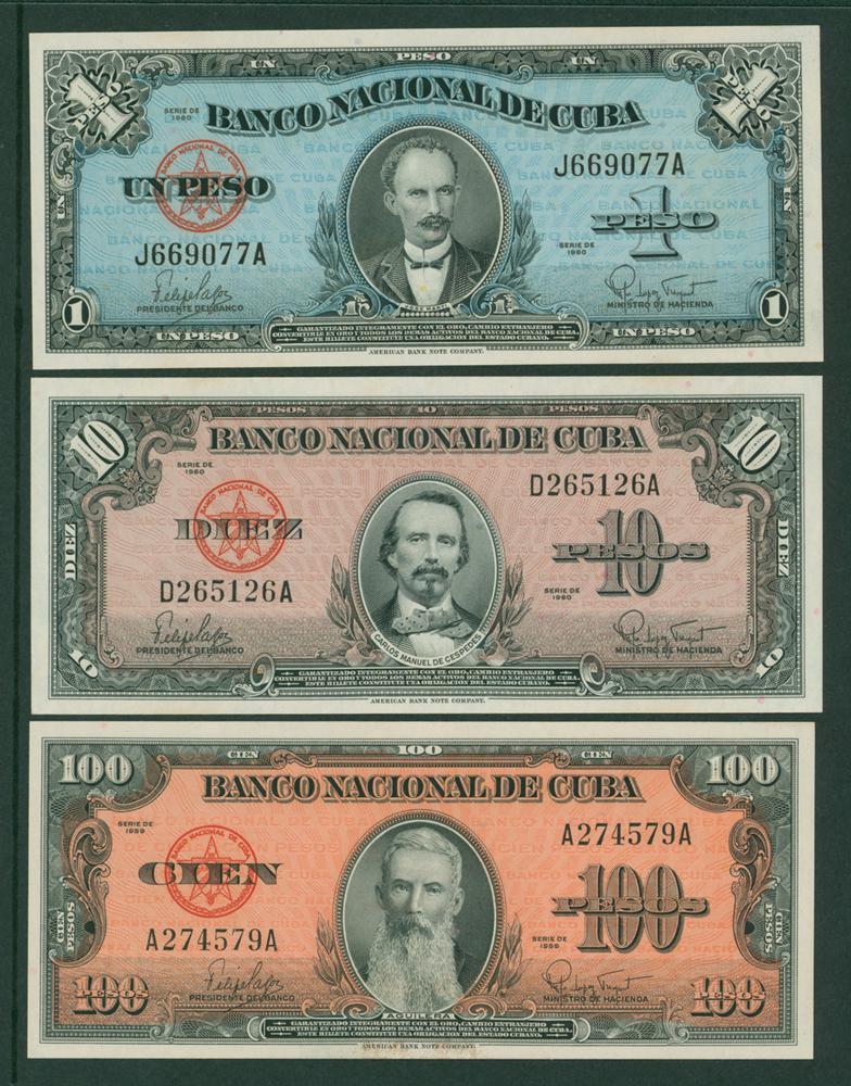 Cuba 1960 1p, 10p, 1959 100p. (3 notes)