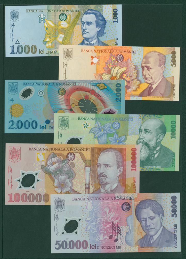 Romania 1998 1000 lei, 5000 lei, 1999 2000 lei, 10,000 lei, 50,000 lei & 100,000 lei