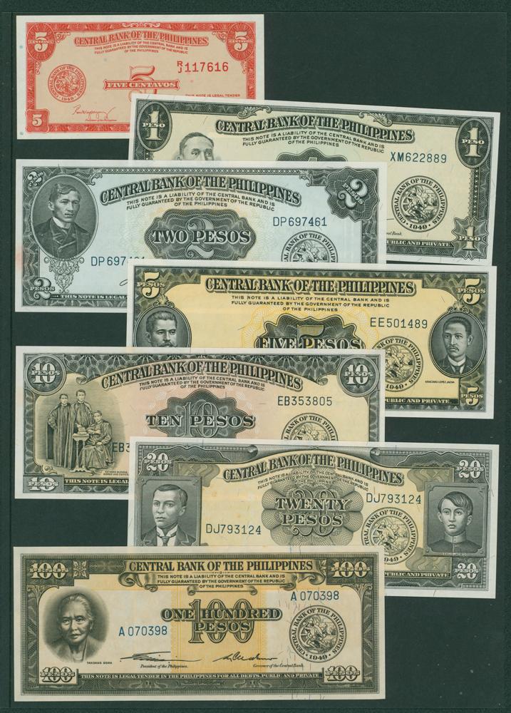 Philippines 1949 5 centavos, 1 peso, 2p, 5p, 10p, 20p (7 different notes)