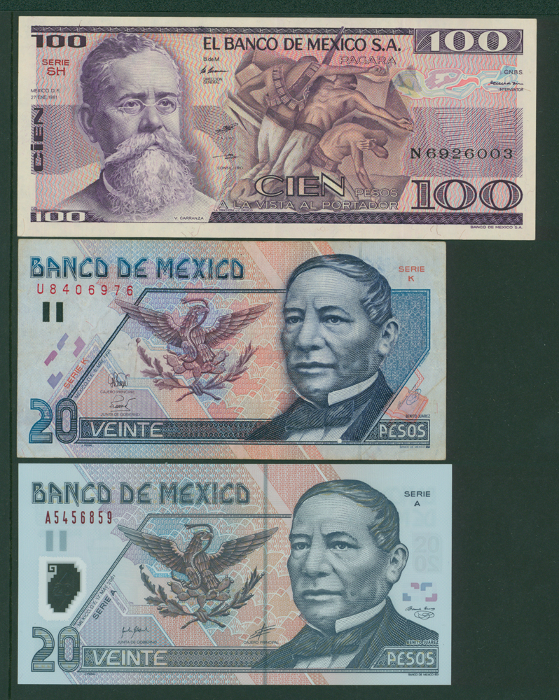 Mexico 1981 100 pesos, 1994 20p, 2001 20p (3 notes)