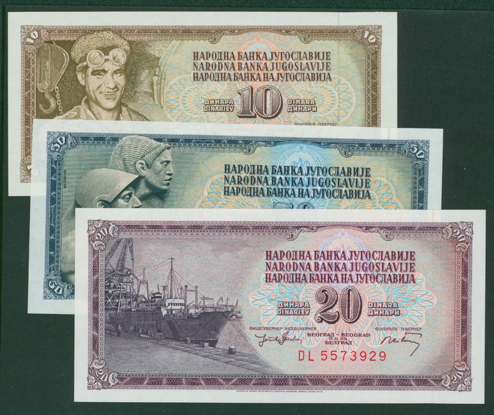 Yugoslavia 1968-74 10d, 50d & 20d (3 notes)