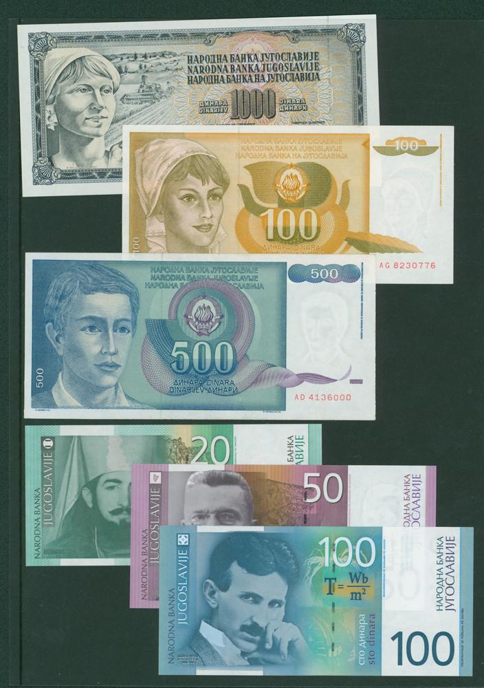 Yugoslavia 1981 1000 dinara, 1990 100 dinara & 500 dinara, 2001 20, 50 & 100 dinara