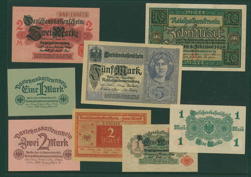 Germany 1914 1m (2), 2m, 1917 5m, 1920 2m, 1922 1m & 2m, 1920 10m