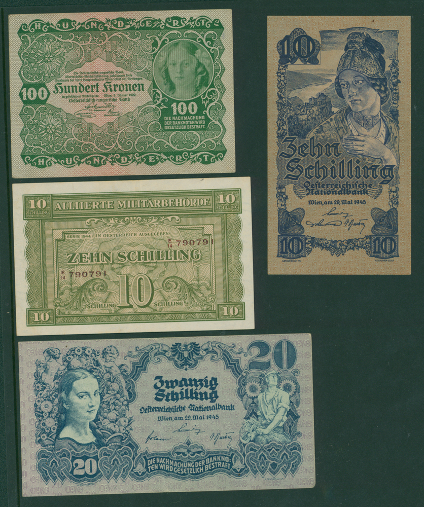 Austria 1922 100 kronen, 1944 10 shilling, 1945 10 shilling, 1945 20 shilling