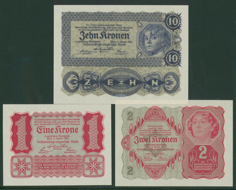 Austria 1922 1k, 2k & 10k