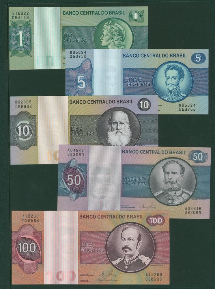 Brazil 1972-80 1c, 5c, 10c, 50c, 100c