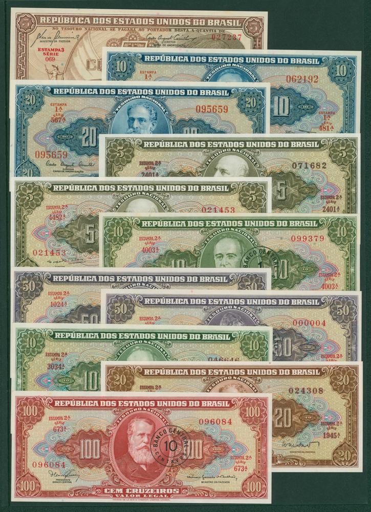 Brazil 1961-692 5 curzeiros, 10c, 20c, 1962-64 5c (2), 10c, 20c, 1967 1 centavo on 10 cruzeiros, 1966-67 5 centavo on 50 curzeiros (2), 10 centavos on 100 cruzeiros
