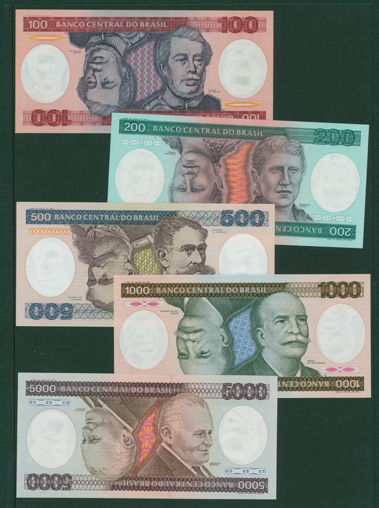 Brazil 1981-84 100c, 200c, 500c, 1000c, 5000c