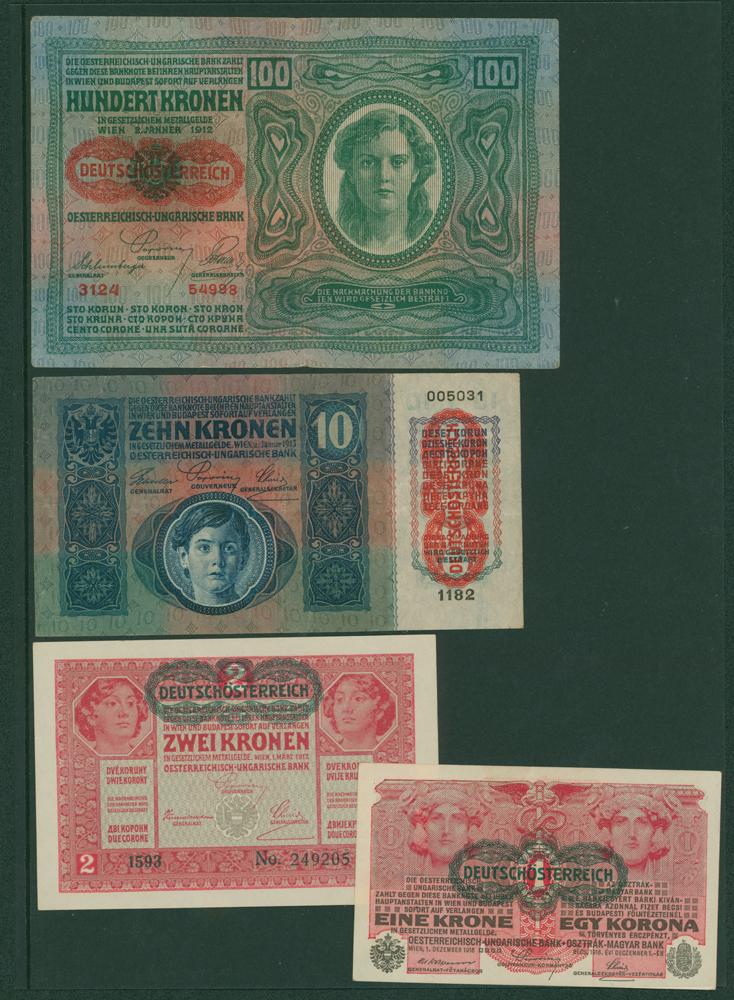 Austria 1919 100 kronen, 1919 1k, 10k, 100k