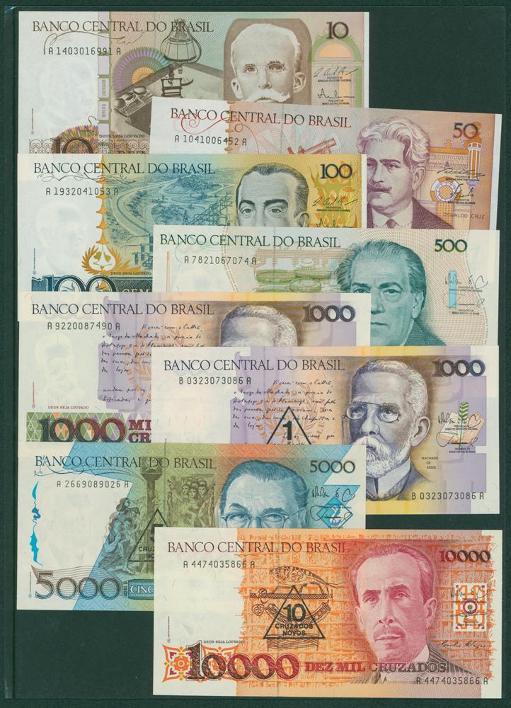 Brazil 1986-87 10c, 50c, 100c, 500c, 1000c (2), 5000c, 10,000c