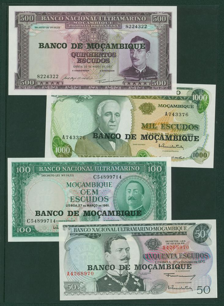 Mozambique 1970 50 escudos, 100e, 1967 500e, 1972 1000e