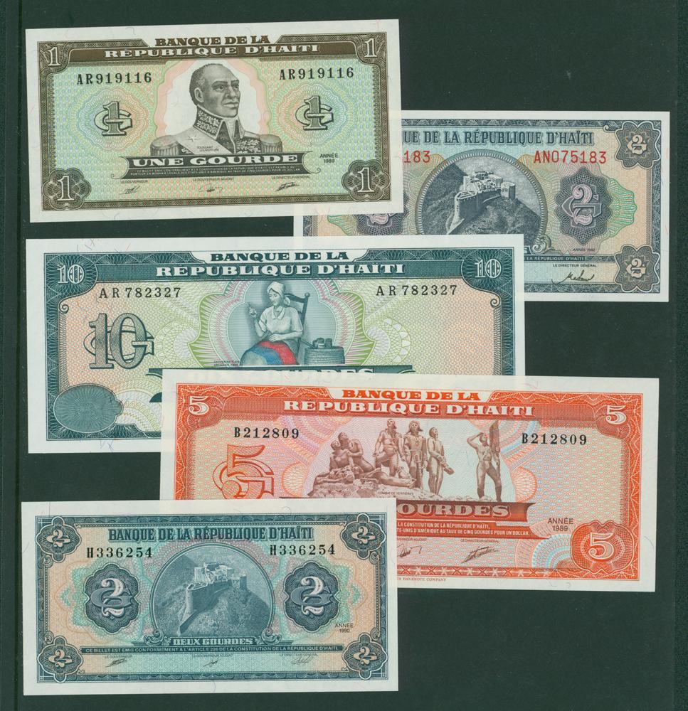 Haiti 1989 1g, 2g, 5g, 1991 10g, 1992 2g