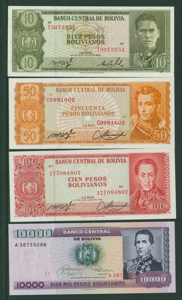 Bolivia 1962 20 pesos, 50p, 100p, 10,000p