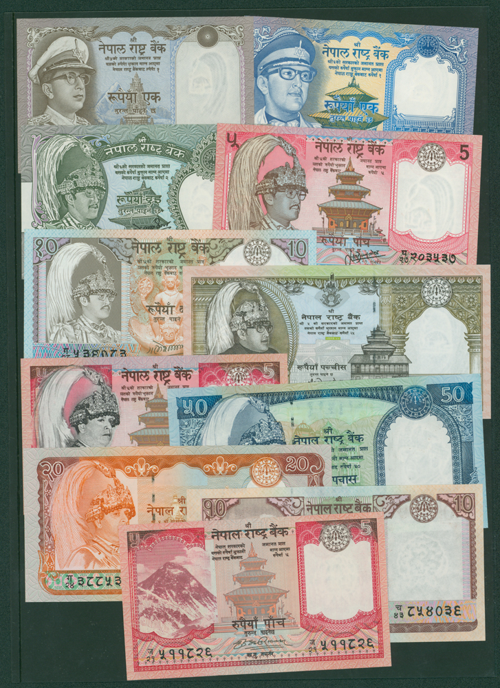Nepal 1972 1r, 1974 1r, 1981 2r, 1987 5r, 1997 25r, 2002 2r, 20r, 50r, 2008 5r, 10r