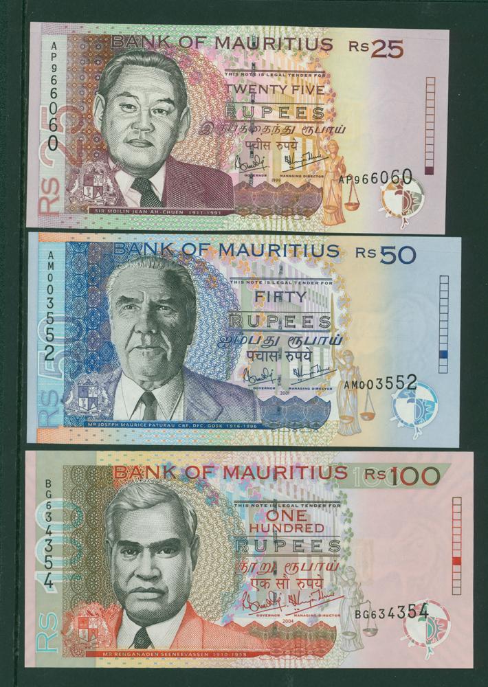 Mauritius 1999 25r, 2001 50r & 2004 100r