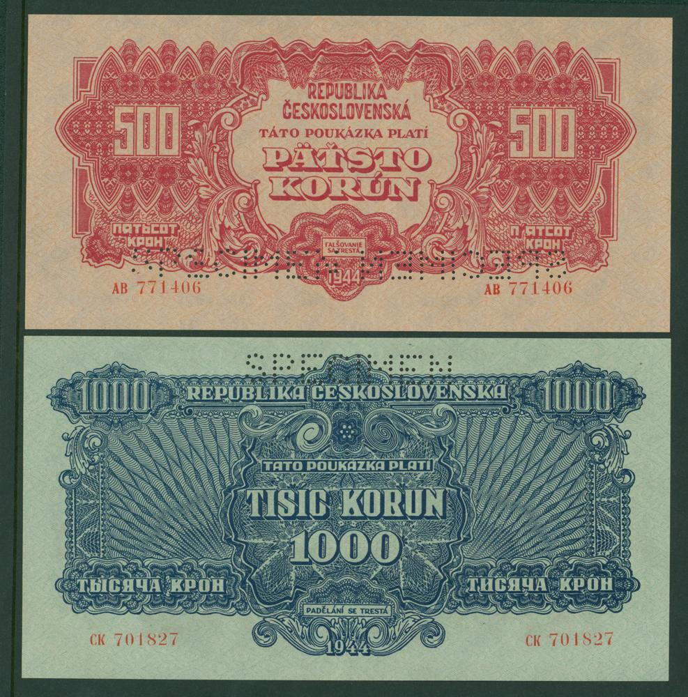 Czechoslovakia 1944 500 & 1000 korun