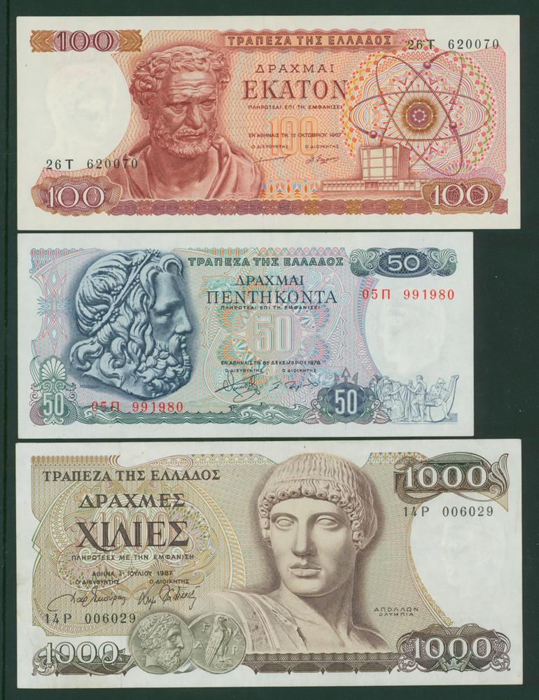 Greece 1967 100d, 1978 50d, 1987 1000d
