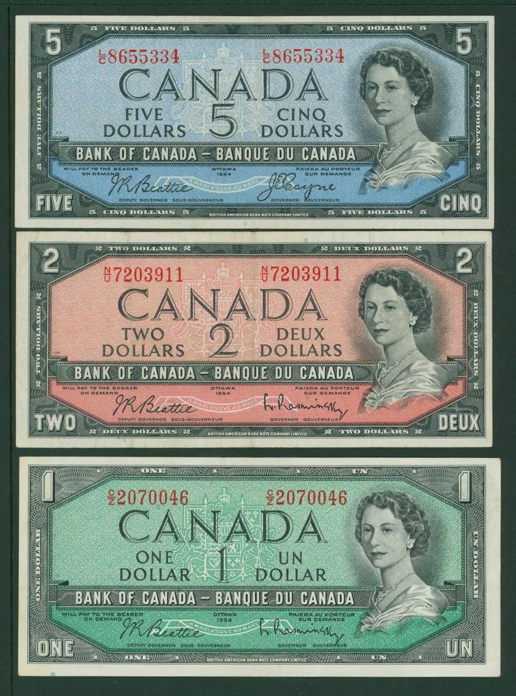 Canada 1954 $1, $2, $5