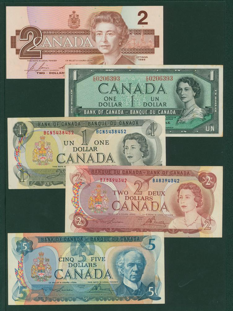 Canada 1954 £1, 1973 $1, 1974 $1, 1972 $5, 1986 $2