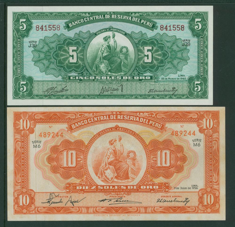 Peru 1960 5 soles, 1956 10 soles