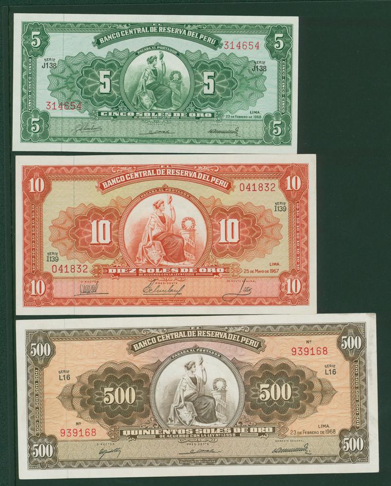 Peru 1968 5 soles, 1967 10 soles, 1968 500 soles