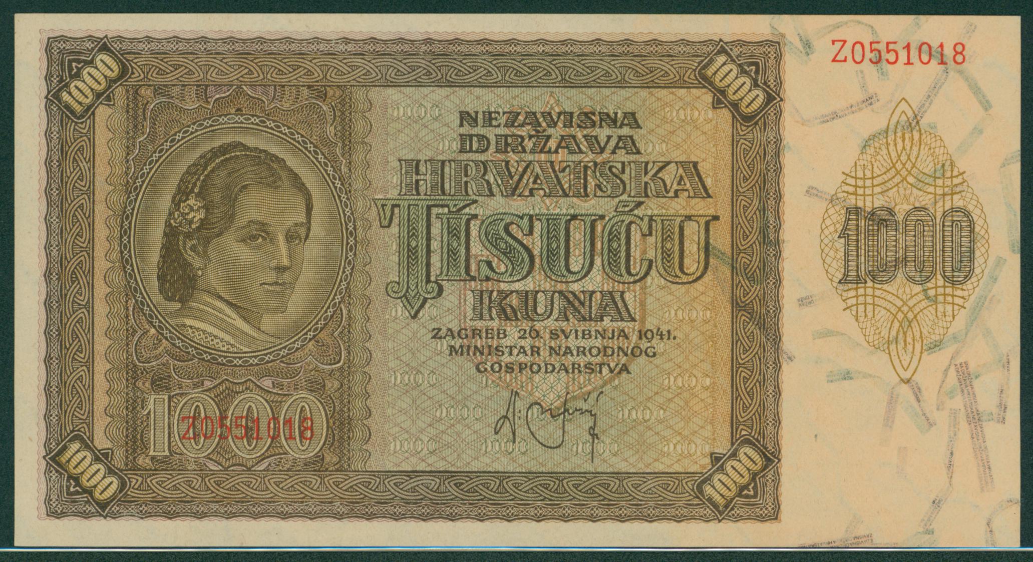 Croatia 1941 1000 kuna