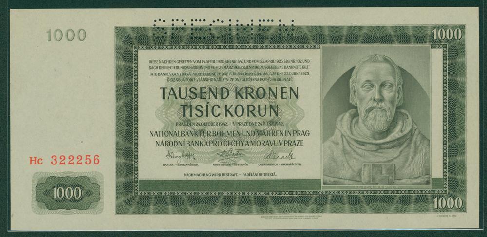 Bohemia & Moravia 1942 1000 korun
