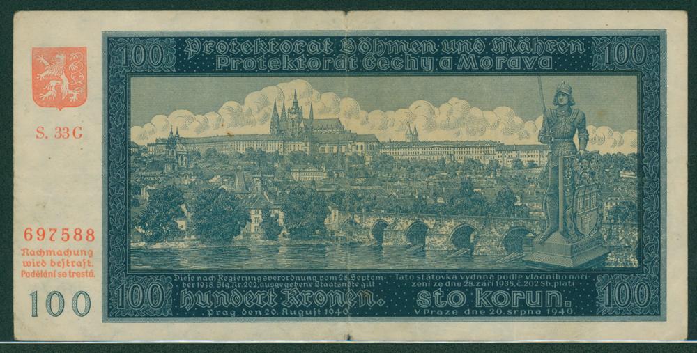 Bohemia & Moravia 1940 100 korun
