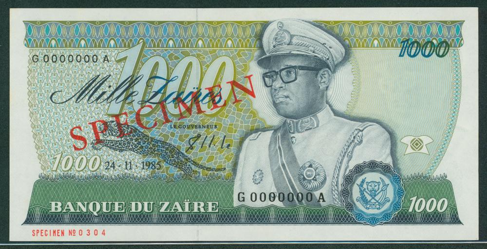 Zaire 1985 1000 Zaires