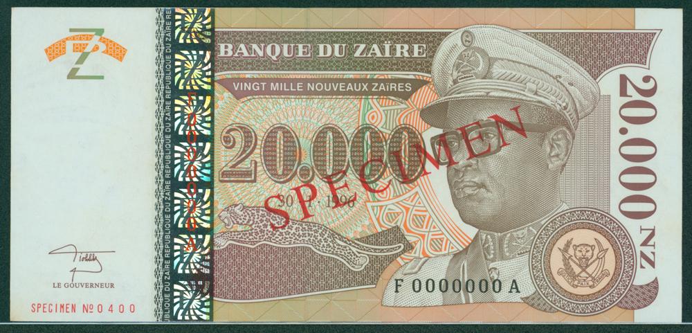 Zaire 1996 20,000 Nouveaux Zaires