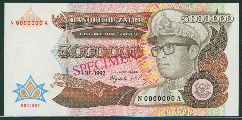 Zaire 1992 5000 Zaires