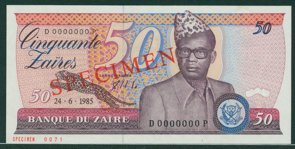Zaire 1985 50 Zaires