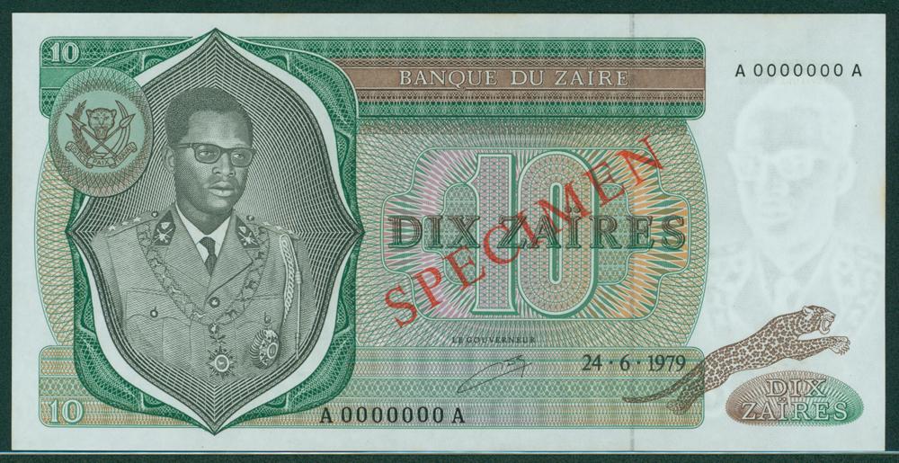 Zaire 1979 10 Zaires