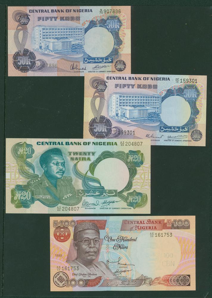 Nigeria 1973-78 50 Kobo (2), 1984 20 Naira, 2001 100 Naira