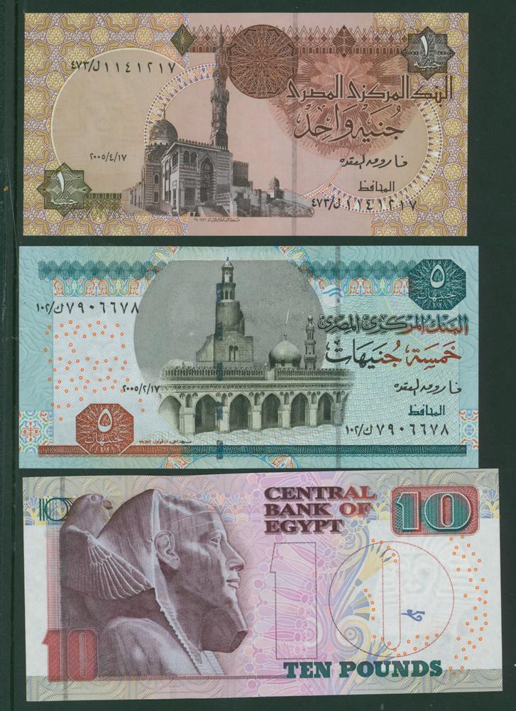 Egypt 1978-2008 £1 Piastres, 2001 £5, 2003 £10